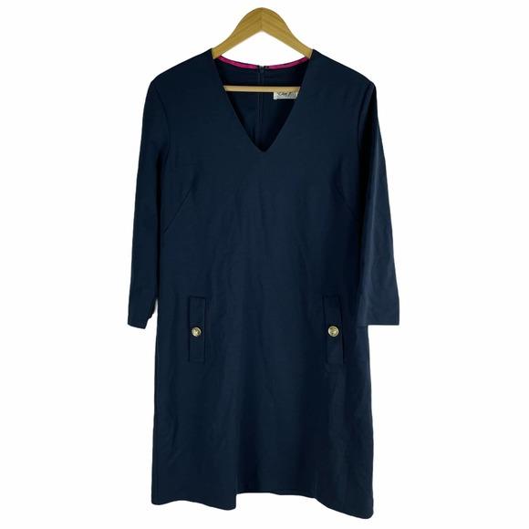 Eliza J V Neck Ponte Shift Dress Pockets Navy SIze 14